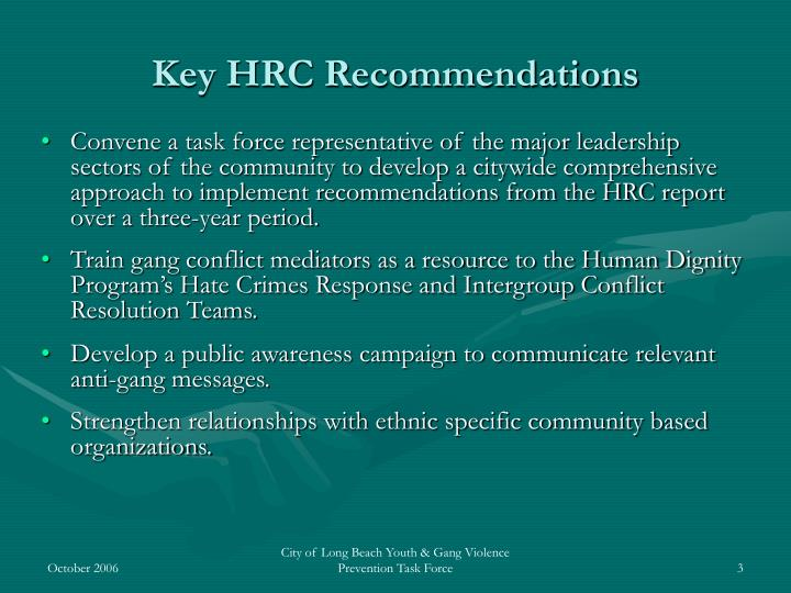 Key hrc recommendations