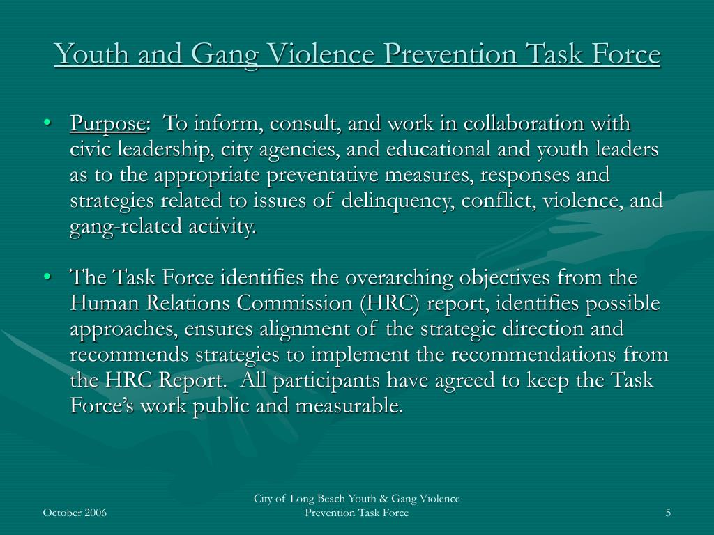 Youth and Gang Violence Prevention Task Force