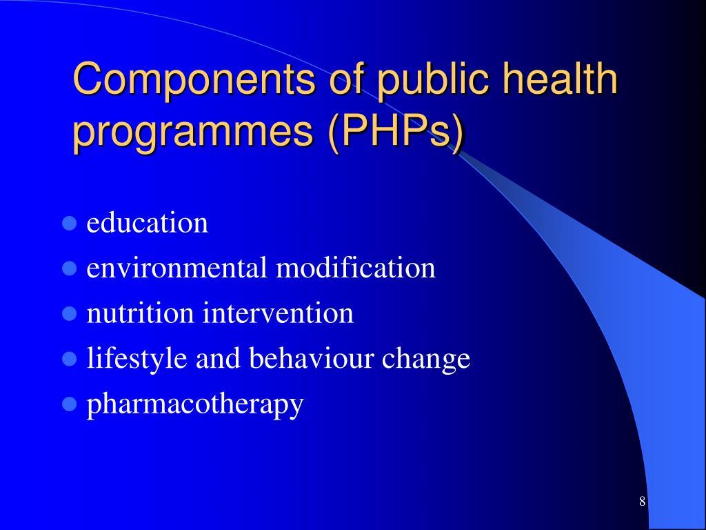 Components of public health programmes (PHPs)