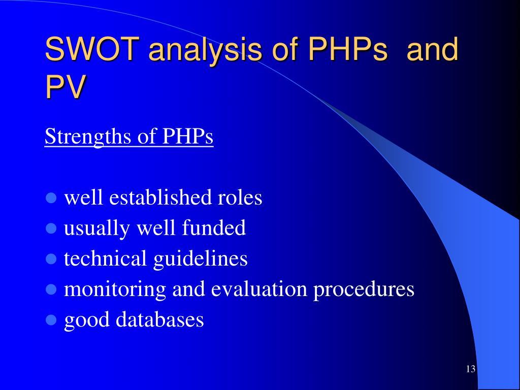 SWOT analysis of PHPs  and PV