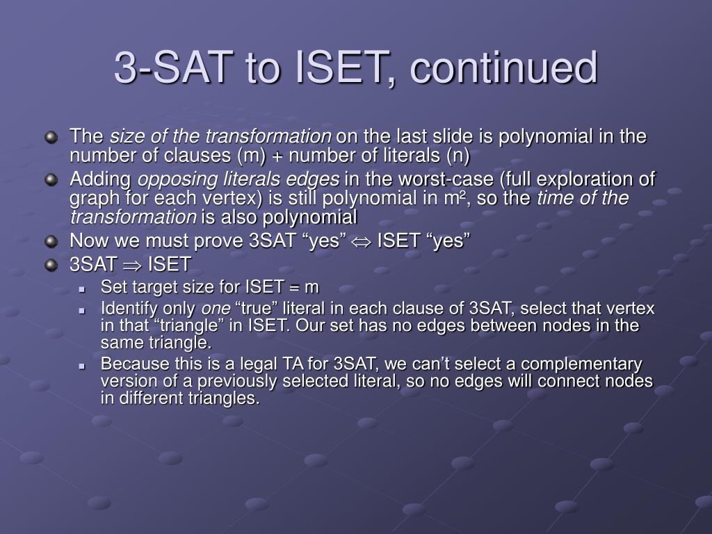 3-SAT to ISET, continued