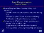 revised recommendations pregnant women i