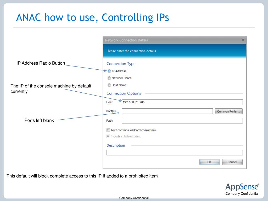 ANAC how to use, Controlling IPs