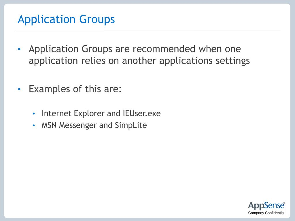 Application Groups