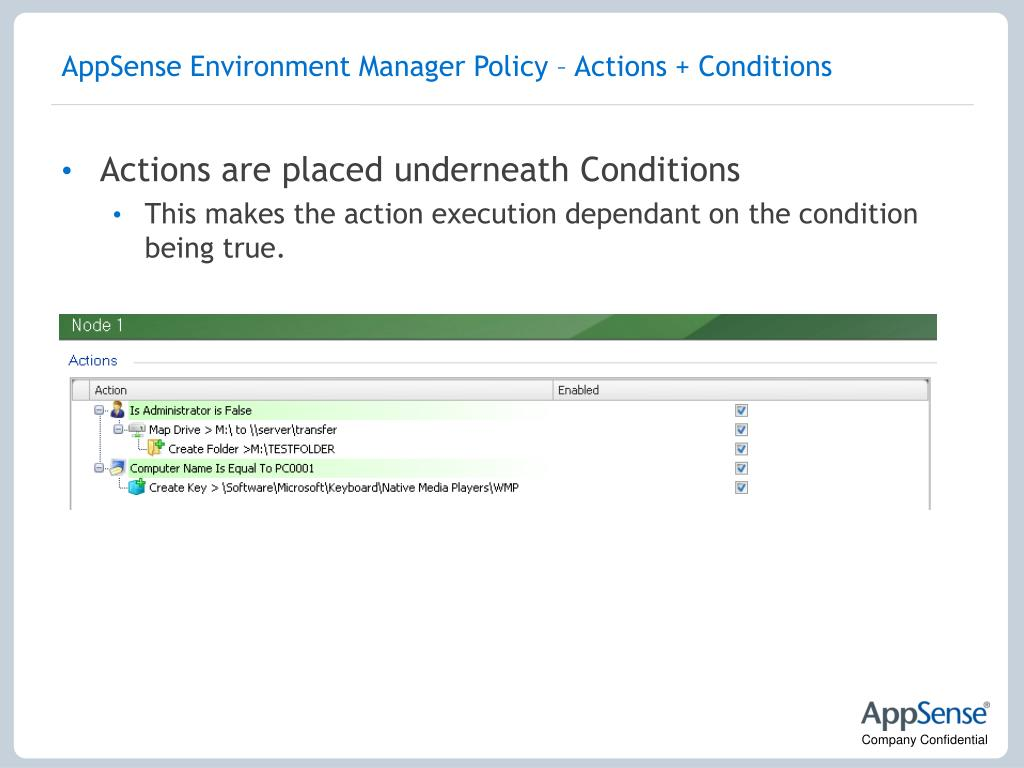 AppSense Environment Manager Policy – Actions + Conditions