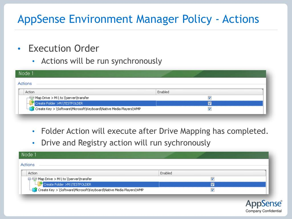 AppSense Environment Manager Policy - Actions