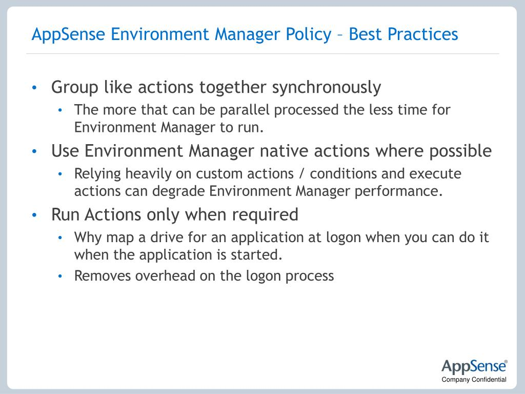 AppSense Environment Manager Policy – Best Practices