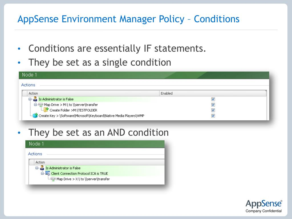 AppSense Environment Manager Policy – Conditions