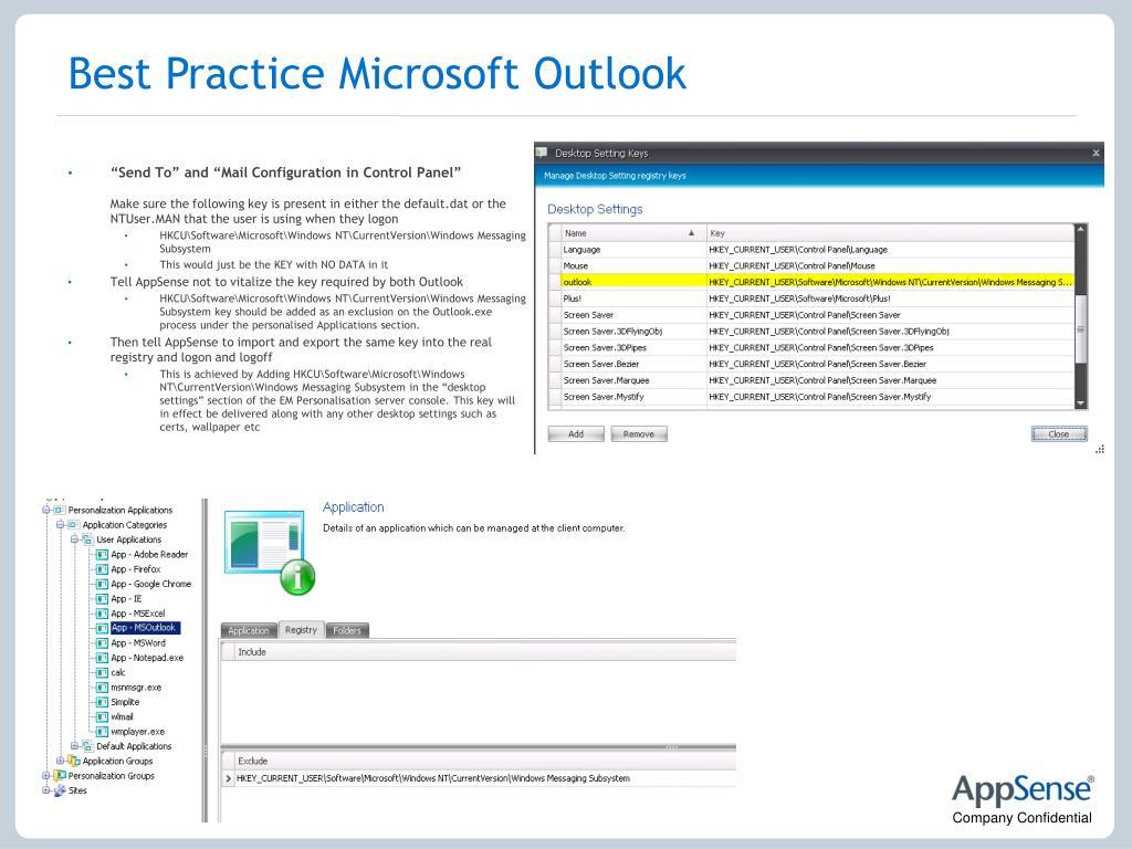 Best Practice Microsoft Outlook