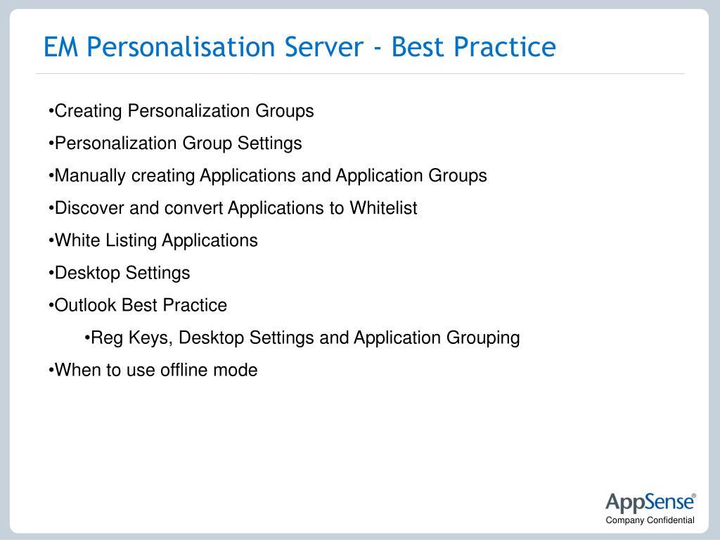 EM Personalisation Server - Best Practice