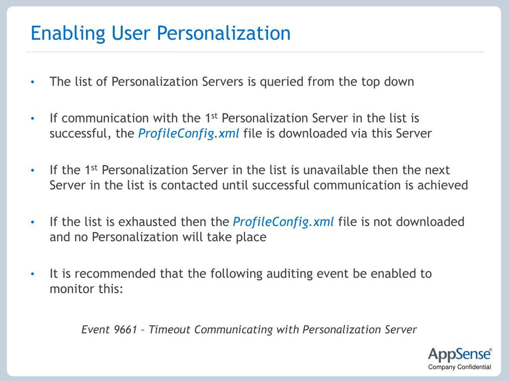 Enabling User Personalization