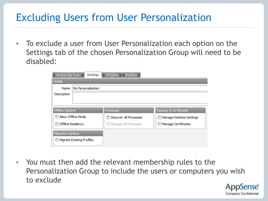 Excluding Users from User Personalization