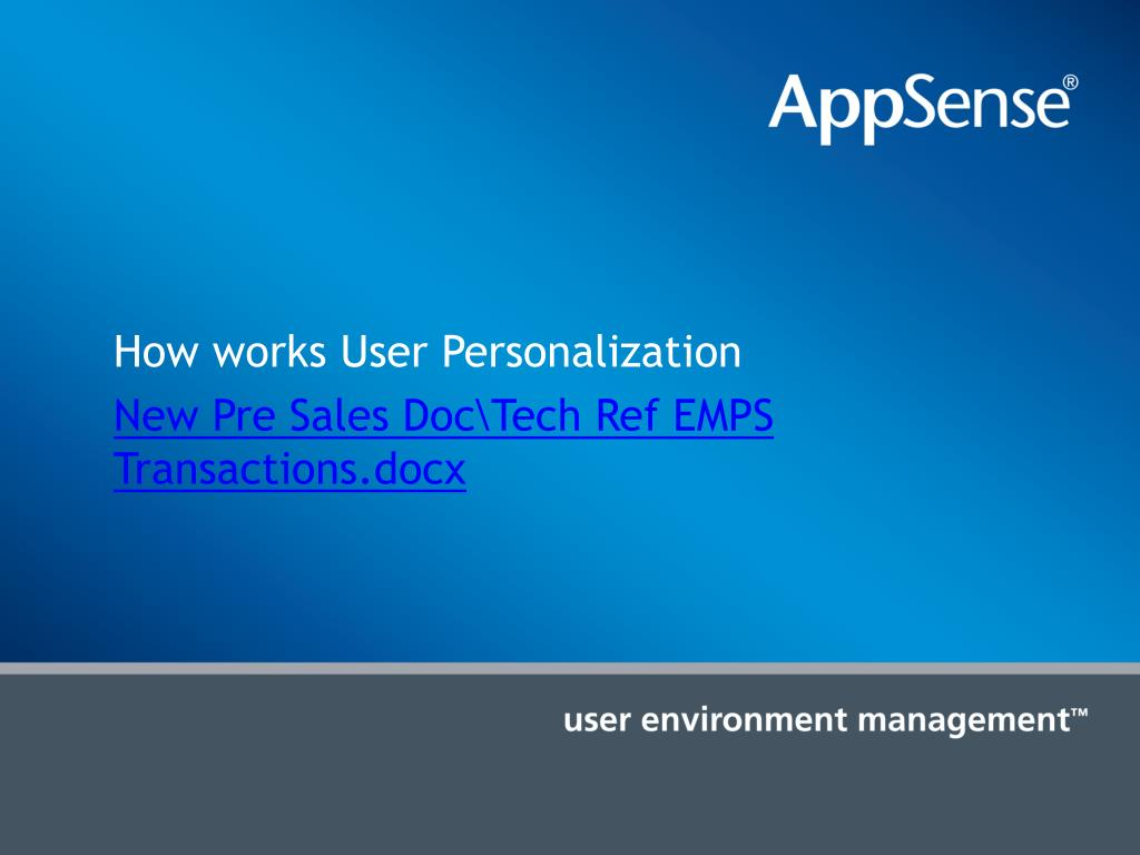 How works User Personalization