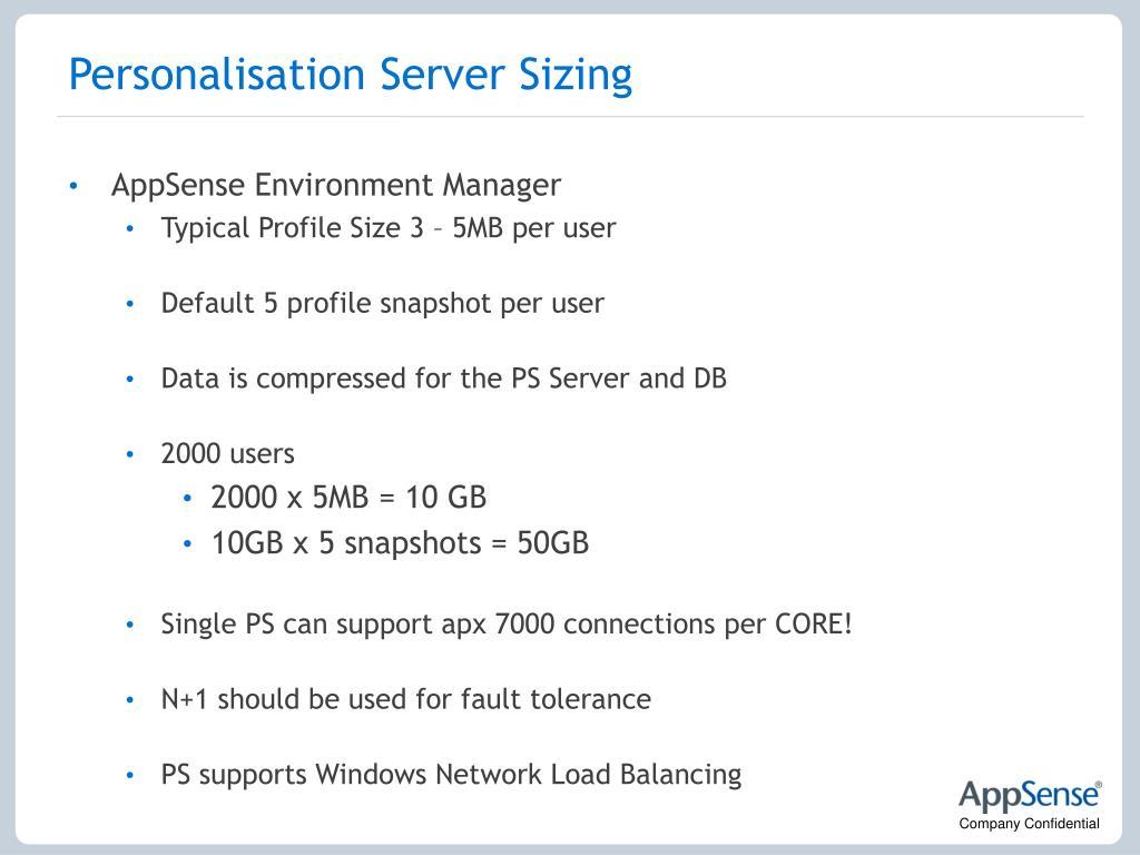 Personalisation Server Sizing