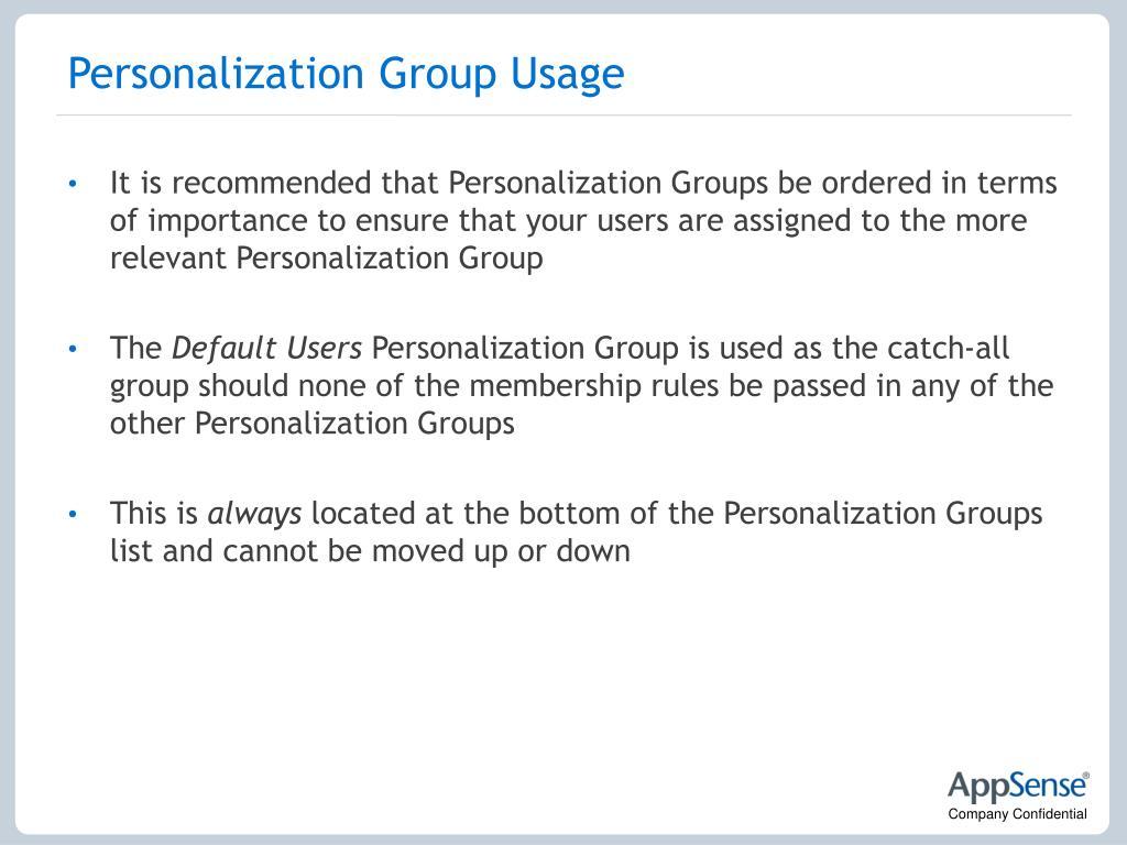 Personalization Group Usage