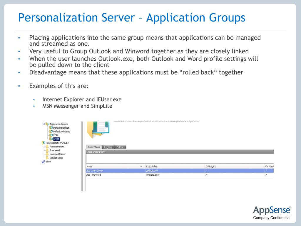 Personalization Server – Application Groups