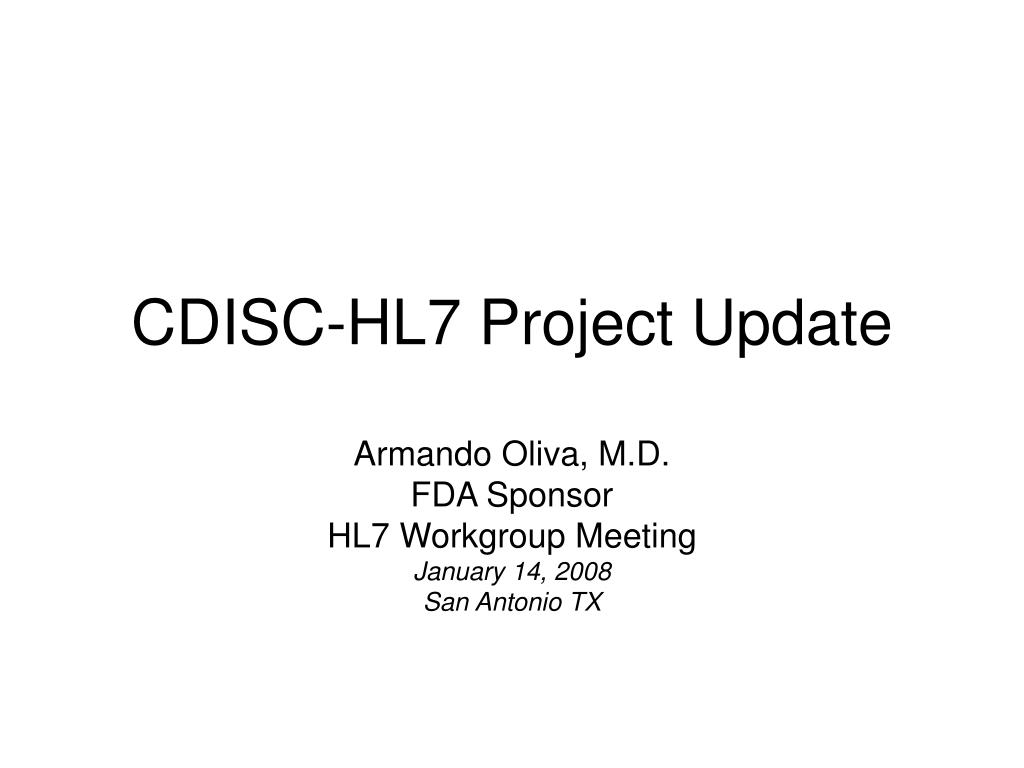 cdisc hl7 project update l.