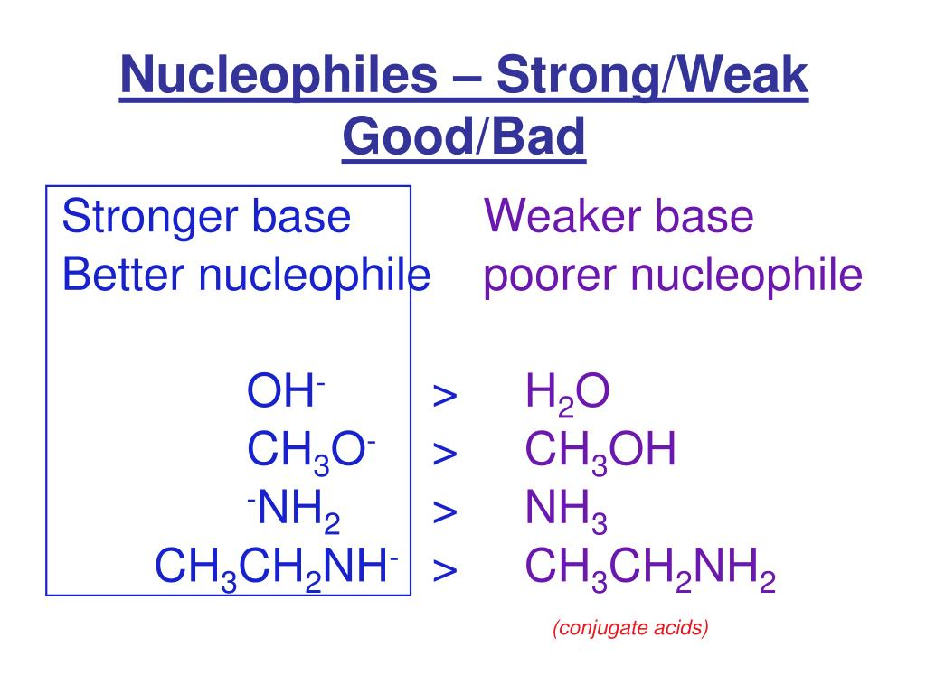 Nucleophiles – Strong/Weak Good/Bad