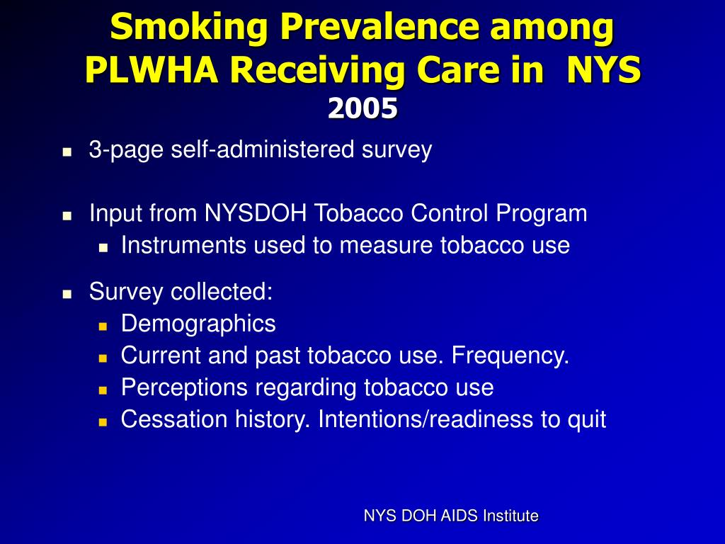Smoking Prevalence among PLWHA Receiving Care in  NYS