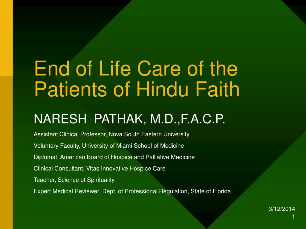 end of life care of the patients of hindu faith l.
