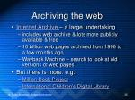 archiving the web