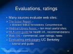 evaluations ratings