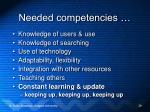 needed competencies