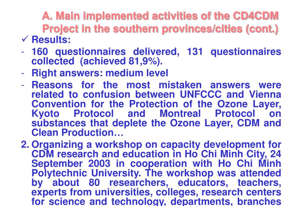 A. Main implemented activities of the CD4CDM Project in the southern provinces/cities (cont.)
