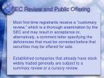 sec review and public offering