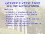 comparison of different search tools web subject directories