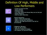 definition of high middle and low performers