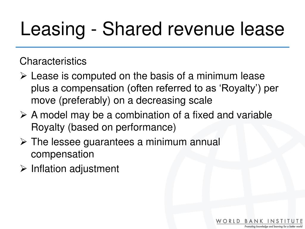 Leasing - Shared revenue lease