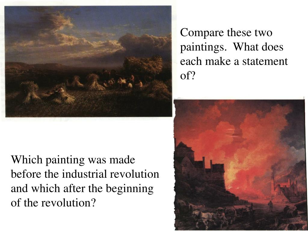 Compare these two paintings.  What does each make a statement of?