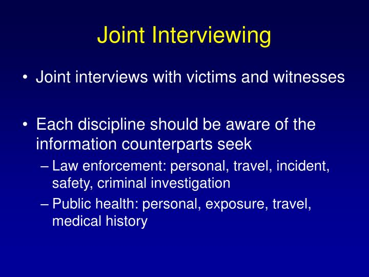 Joint Interviewing