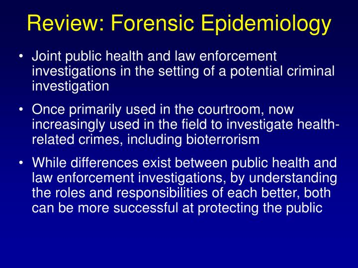 Review: Forensic Epidemiology