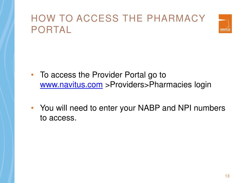 How to access the Pharmacy portal