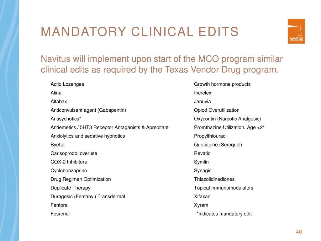 Mandatory Clinical Edits