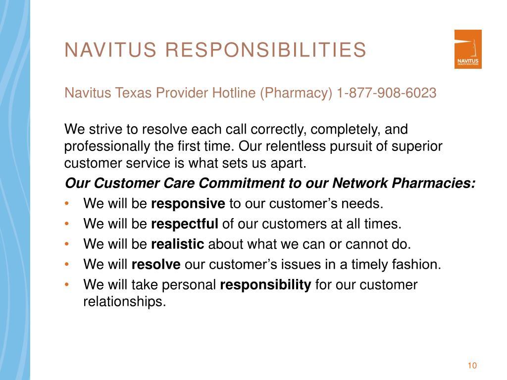 Navitus Responsibilities