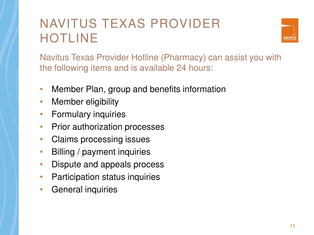 Navitus Texas Provider Hotline
