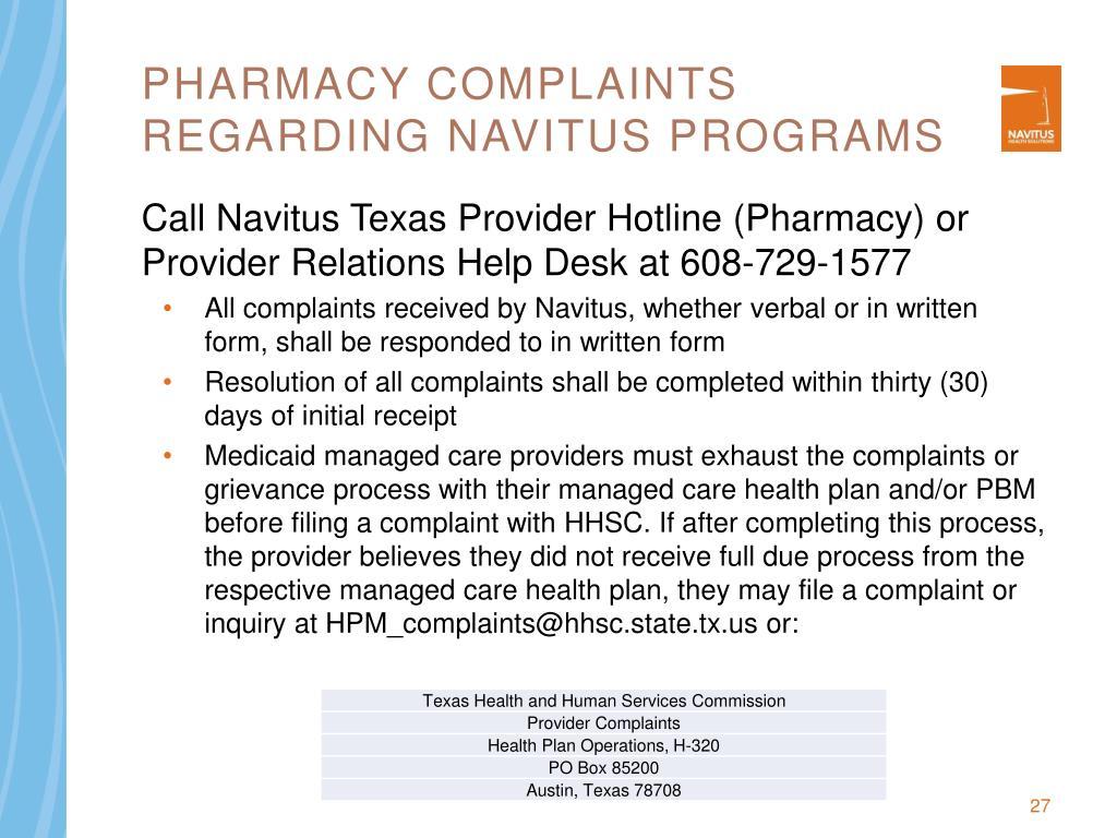 Pharmacy Complaints Regarding Navitus Programs