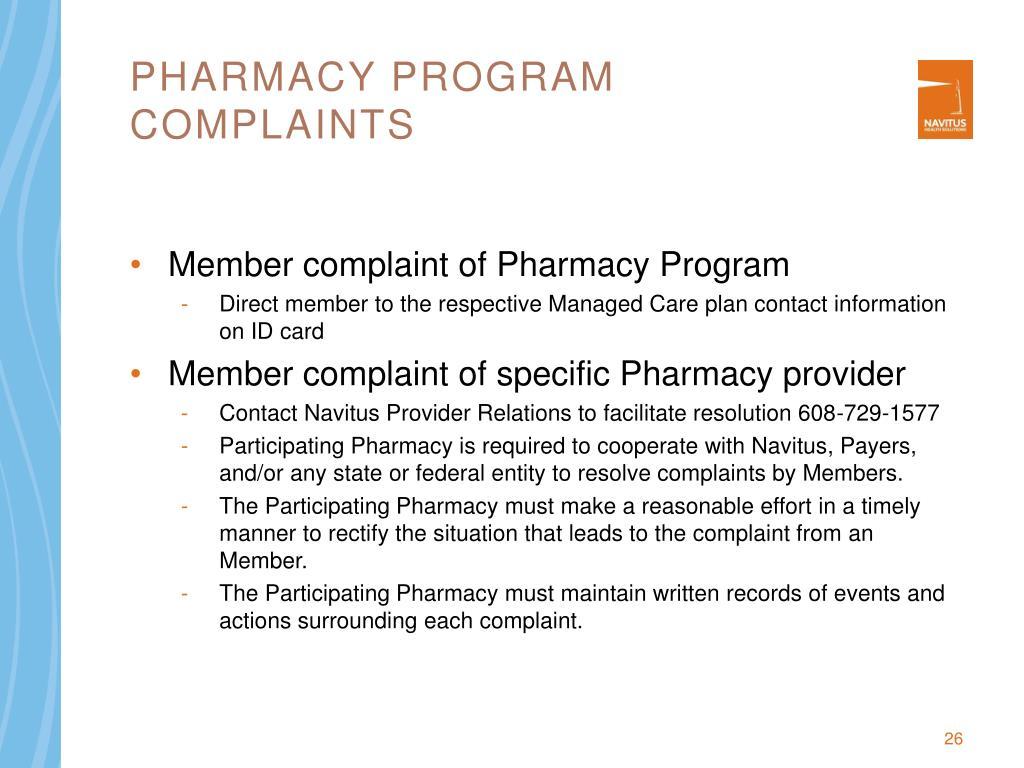 Pharmacy program Complaints