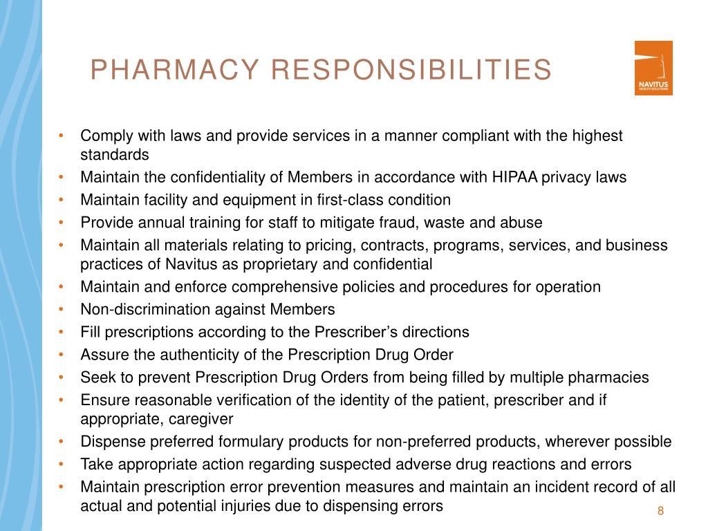 Pharmacy Responsibilities