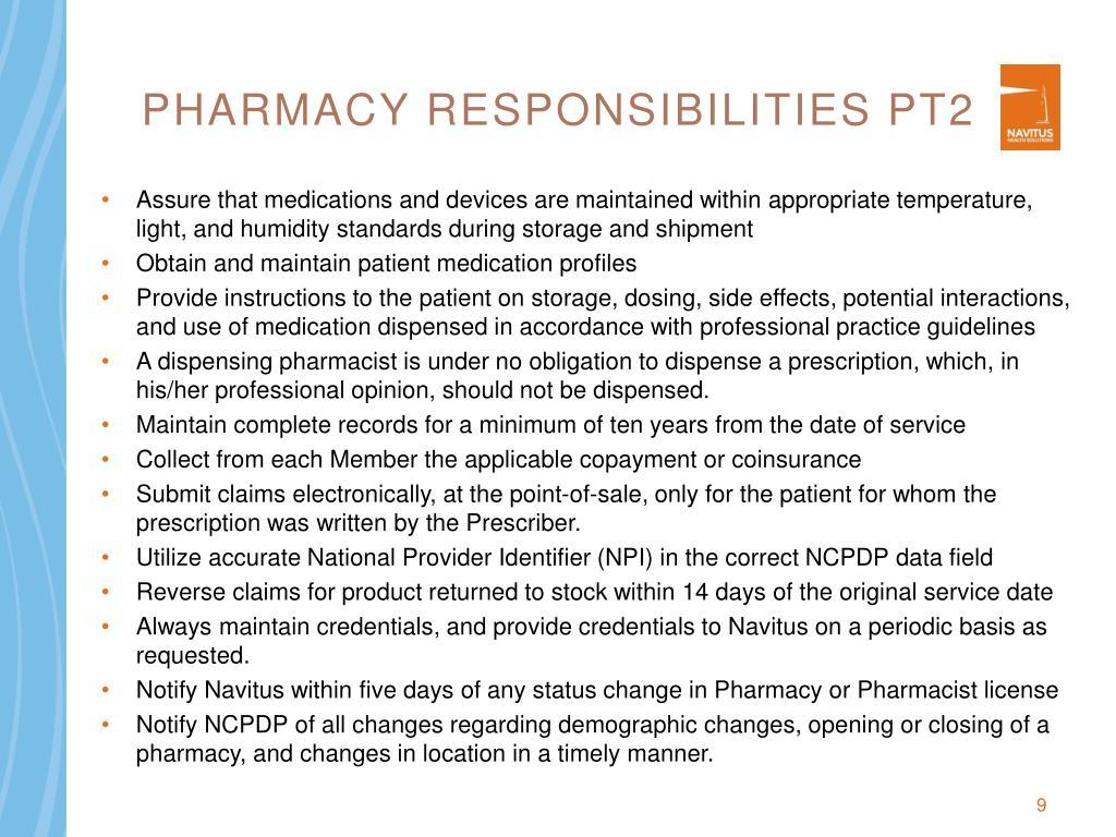 Pharmacy Responsibilities pt2