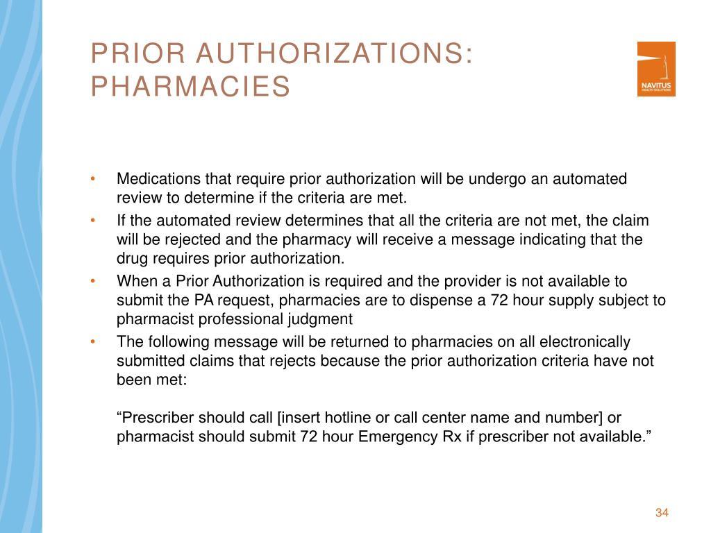 Prior authorizations: pharmacies