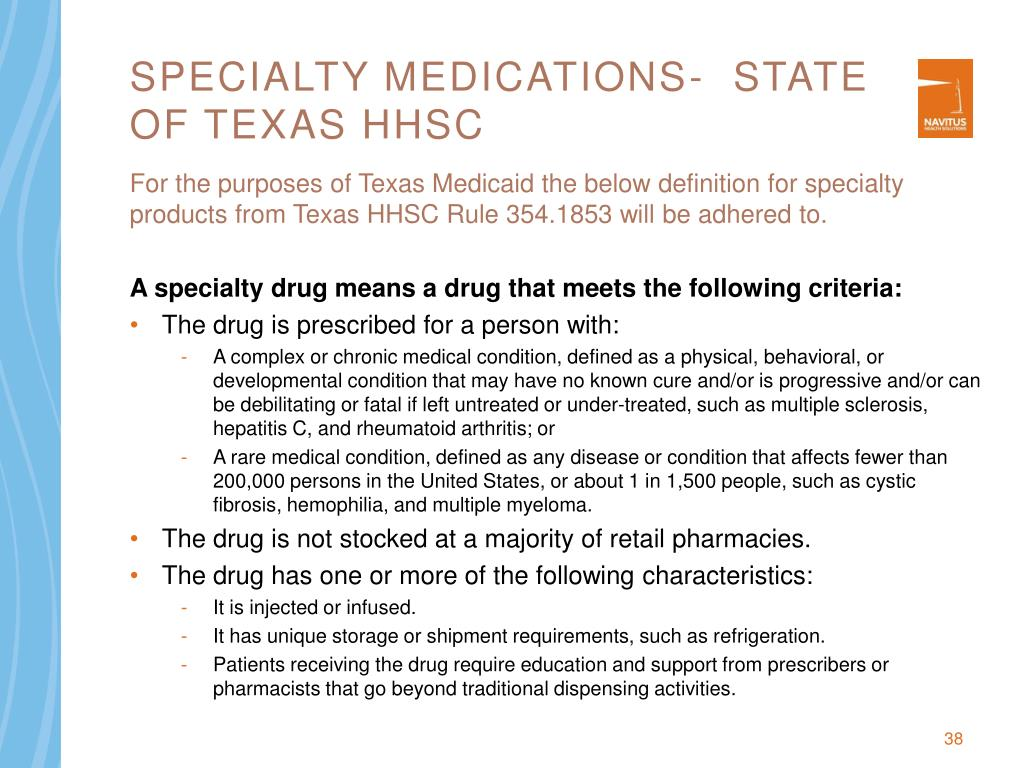 Specialty Medications-  State of Texas HHSC