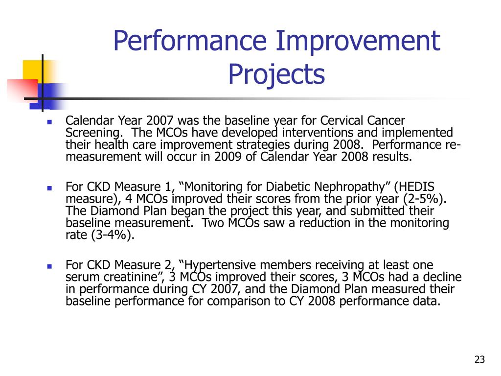 Calendar Year 2007 was the baseline year for Cervical Cancer Screening.  The MCOs have developed interventions and implemented their health care improvement strategies during 2008.  Performance re-measurement will occur in 2009 of Calendar Year 2008 results.