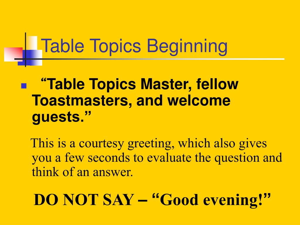 Ppt Table Topics Powerpoint Presentation Free Download