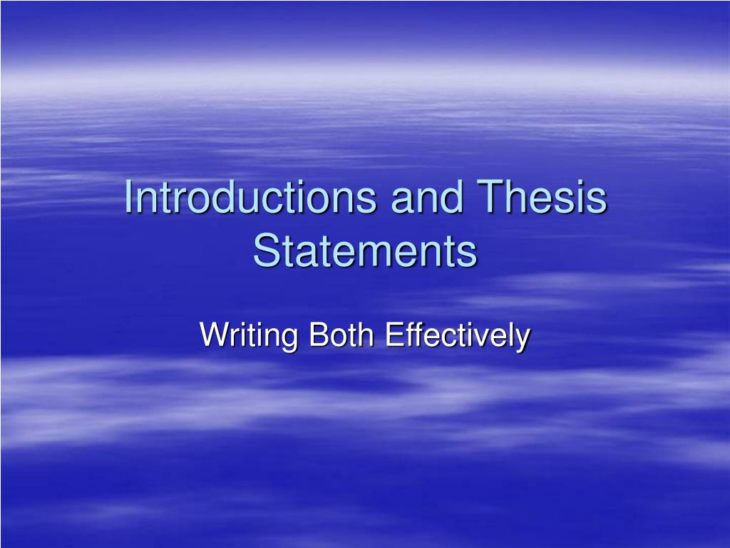 introductions and thesis statements l.