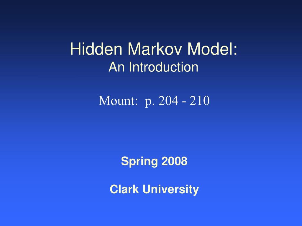 Hidden Markov Model:
