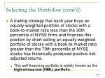 selecting the portfolios cont d